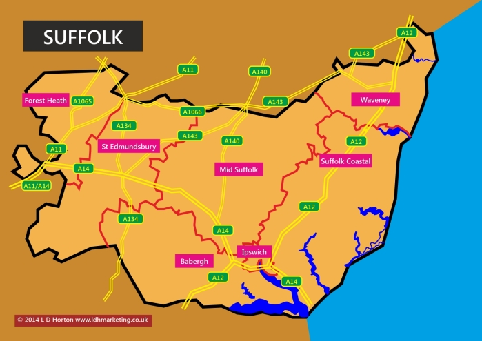 Suffolk Map showing Council Districts