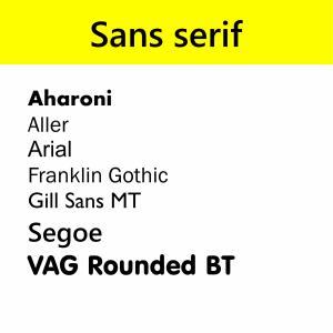 Sans serif typefaces