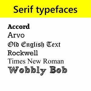 Serif typefaces
