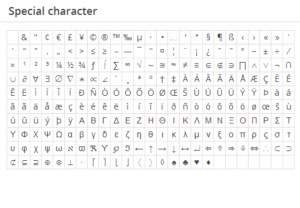 WordPress special characters graphic