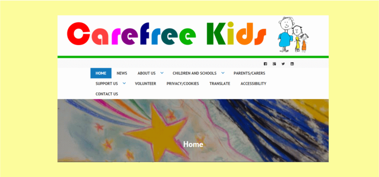Charity website home page