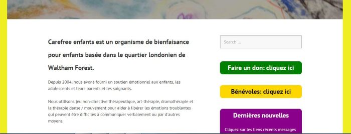 Charity website in French